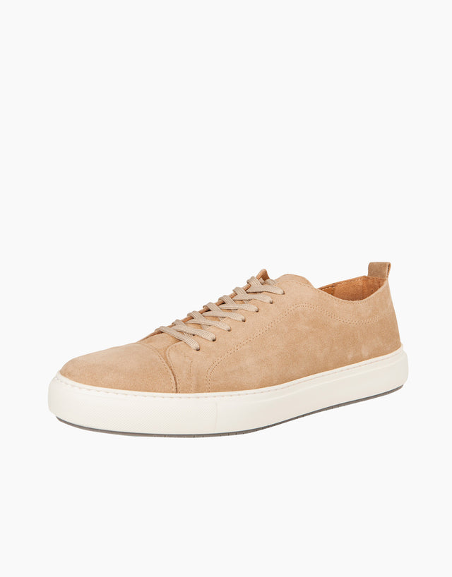 Taupe Suede Cap-Toe Sneakers