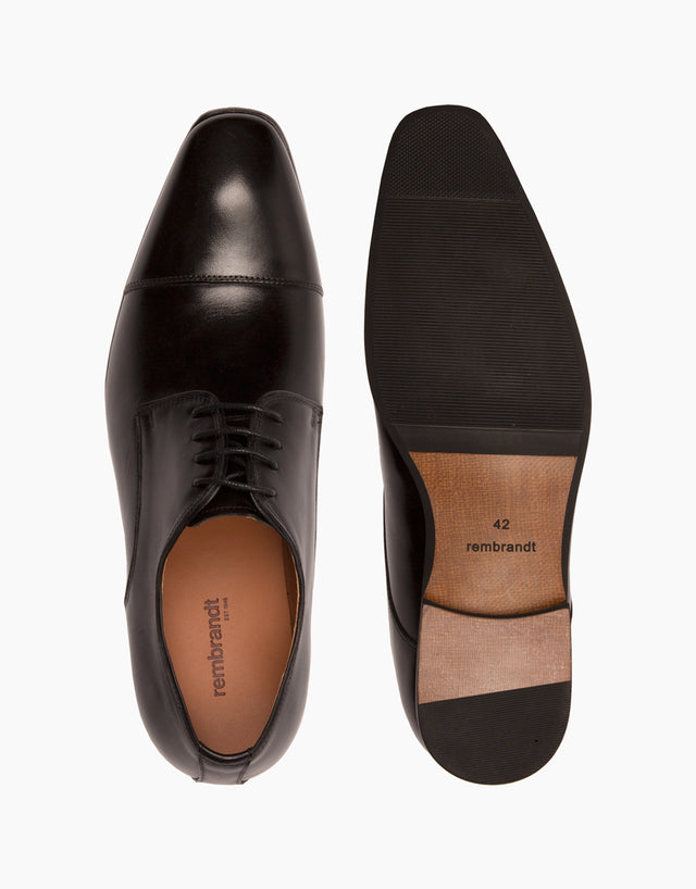 Black Athens cap-toe shoe