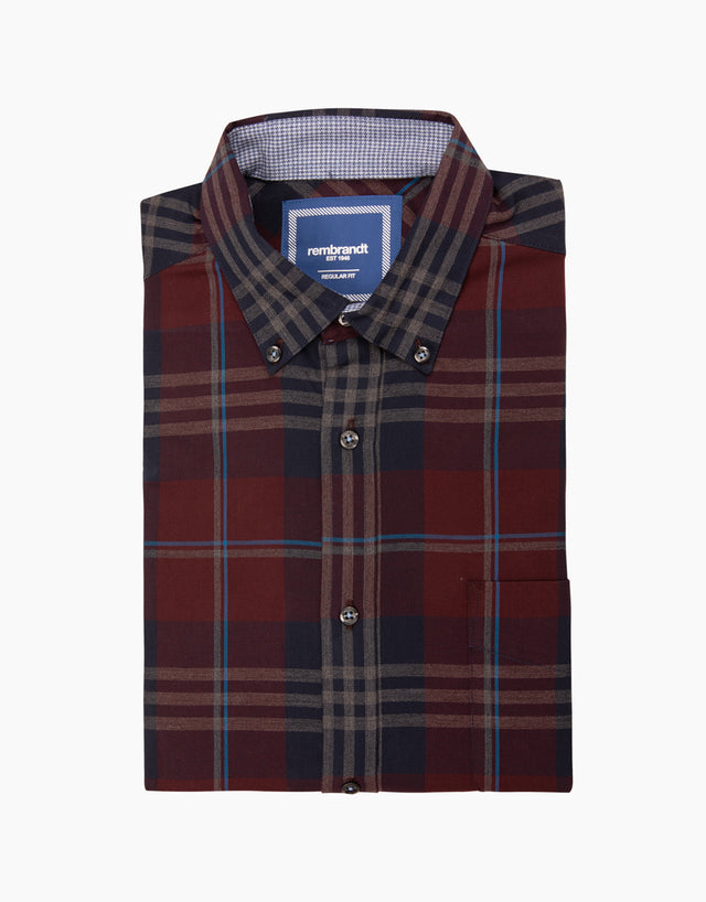 Awaroa navy check flannel shirt