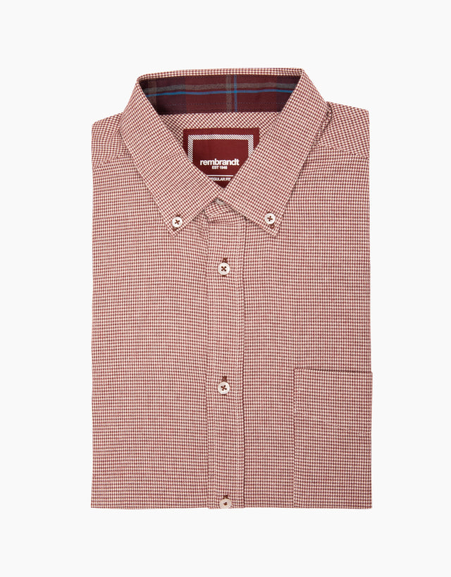 Awaroa maroon houndstooth flannel shirt