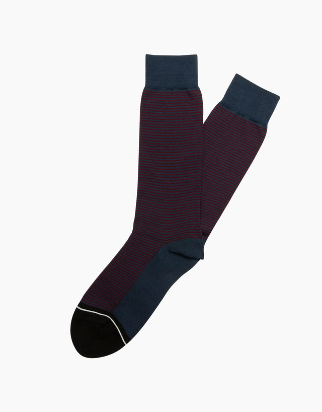 Italian Navy Fine Stripe Socks