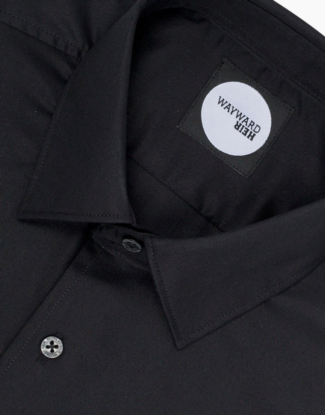 Brooklyn Black Twill Tailored Shirt