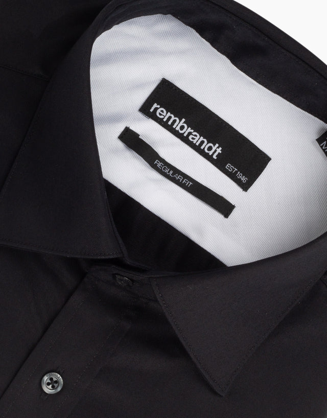 Sinatra Black Twill Tailored Shirt