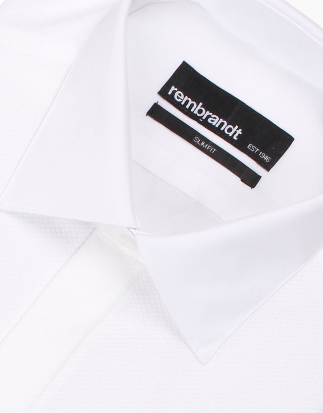 Avalon White Poplin Formal Shirt with Marcella Bib and Cuffs
