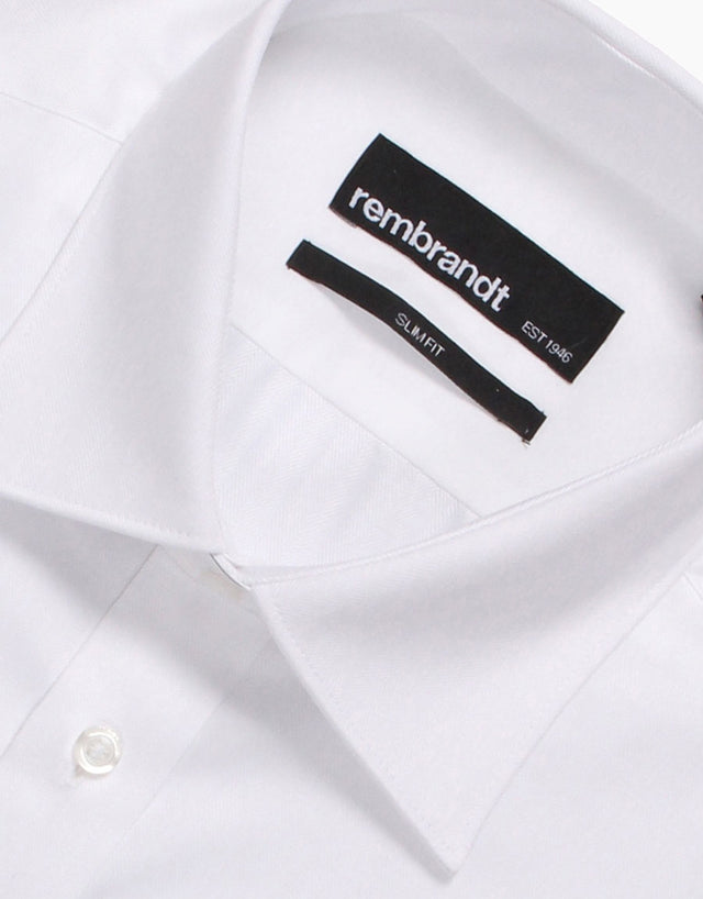 Santiago White Herringbone Tailored Shirt