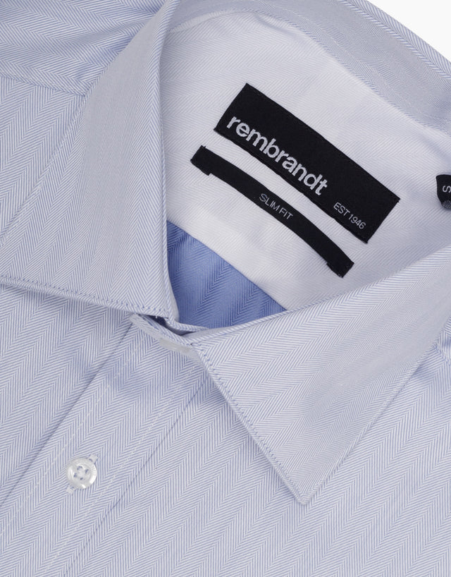 Santiago Blue Herringbone Tailored Shirt