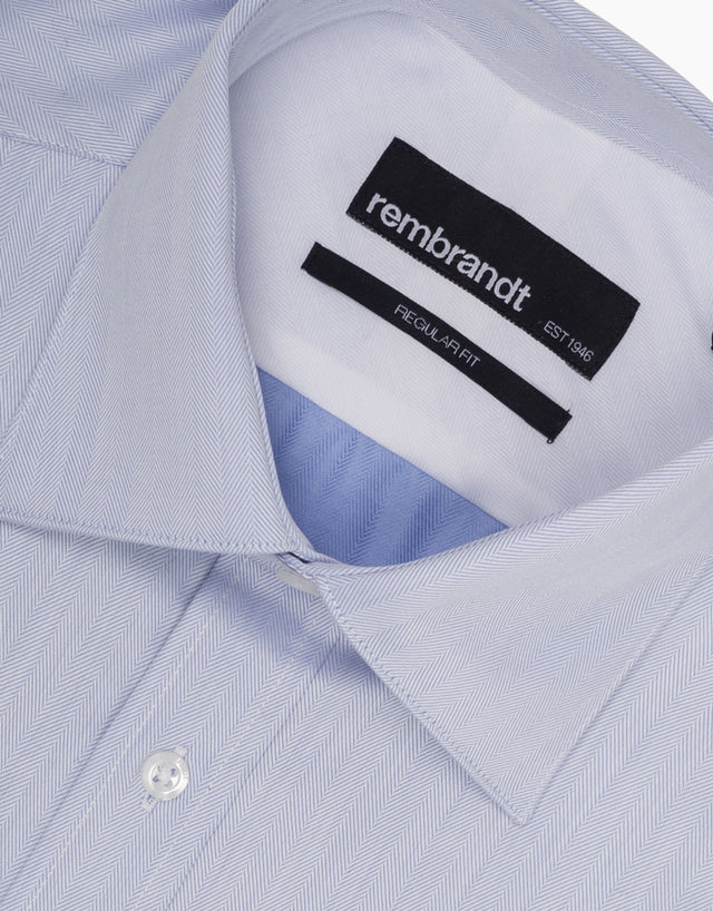 Sinatra Blue Herringbone Tailored Shirt