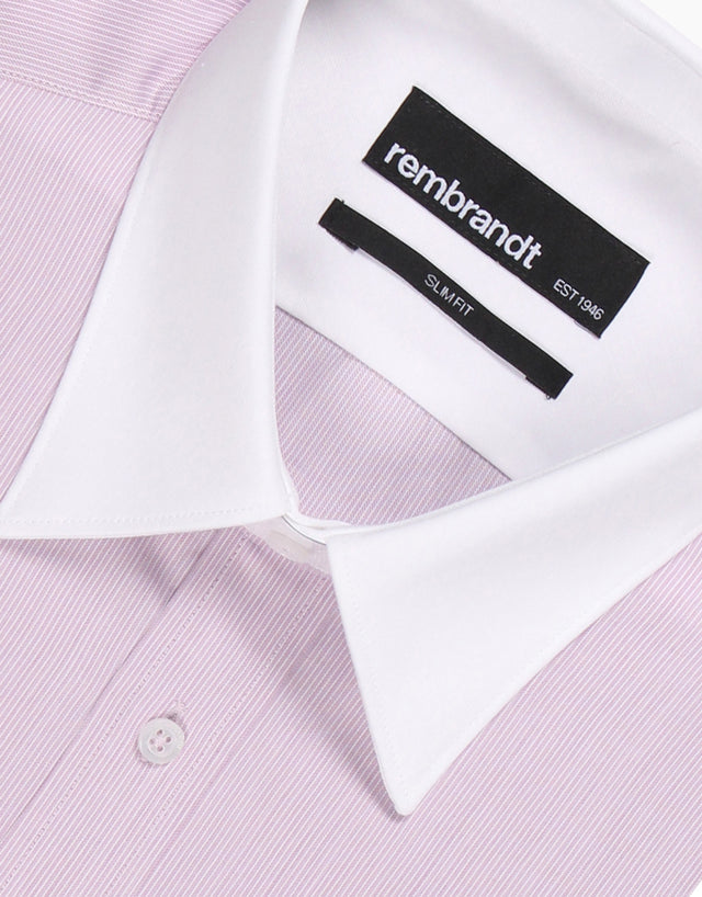 White Pink Stripe Tailored Shirt