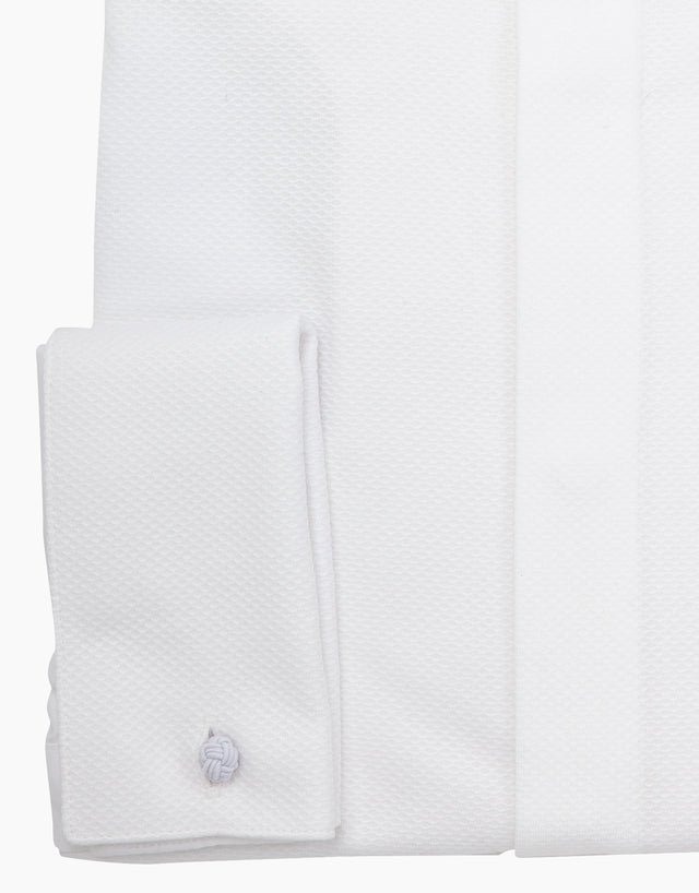 Avalon White Twill Formal Shirt with Marcella Bib and Cuffs
