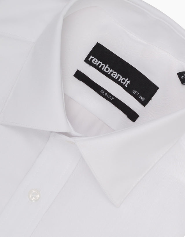 Santiago White Twill Tailored Shirt