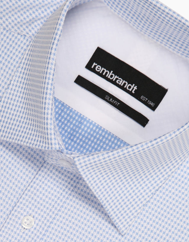 London Light Blue Micro-design Tailored Shirt