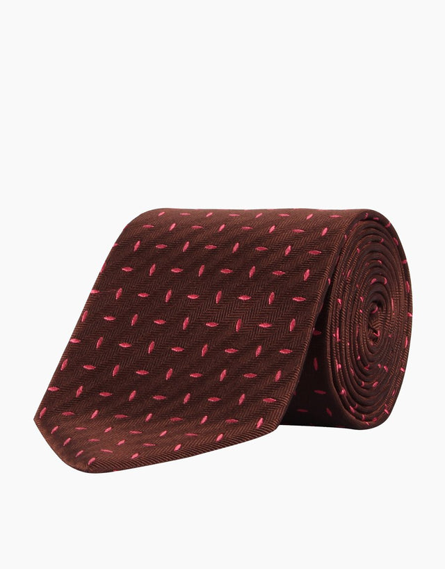 Brown & pink herringbone silk tie