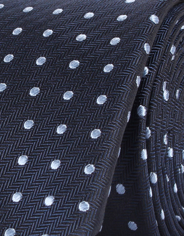 Navy Herringbone with Blue Polka Dot Silk Tie