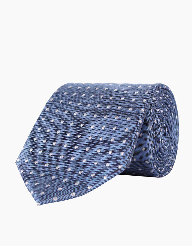 Blue Herringbone with White Polka Dot Silk Tie
