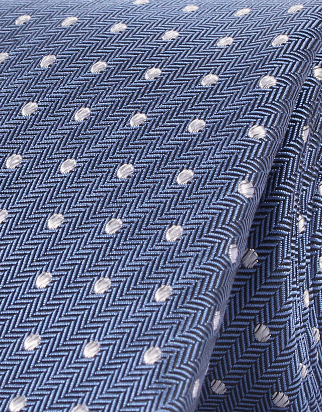 Blue Herringbone with White Polka Dot