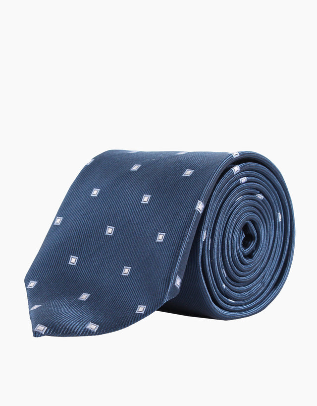 Navy and blue diamond tie