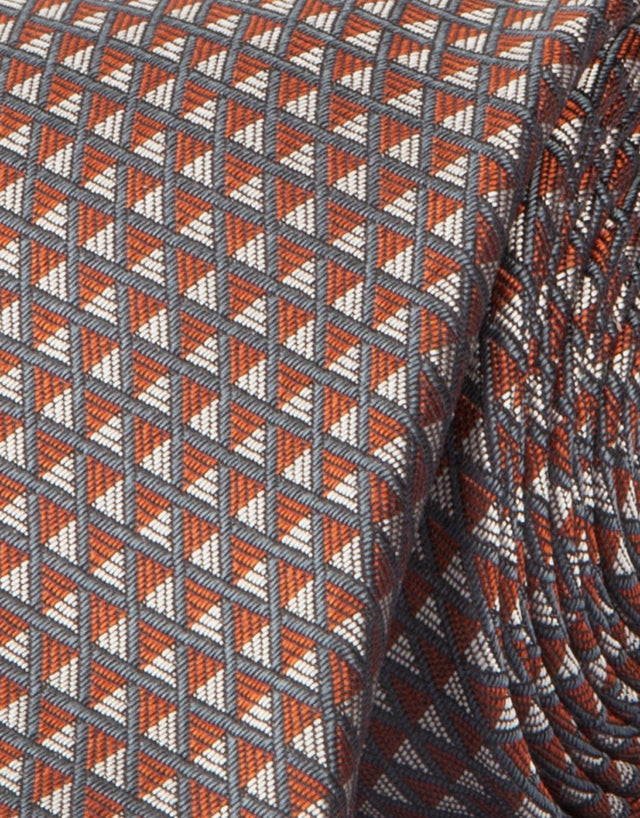 Grey Taupe & Orange Triangle Geometric Silk Tie