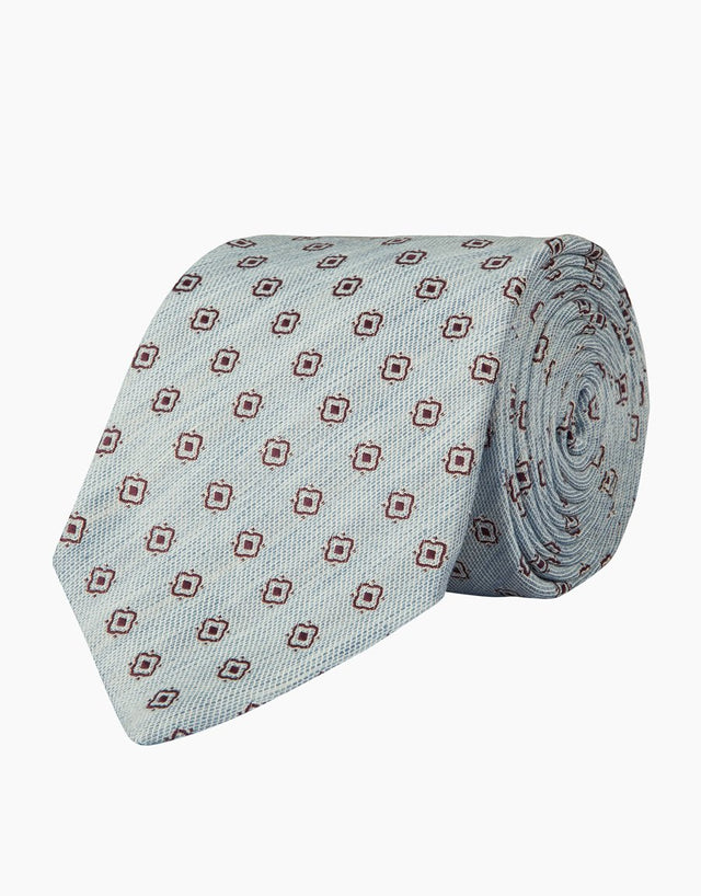 Light Blue Geometric Linen & Silk Tie