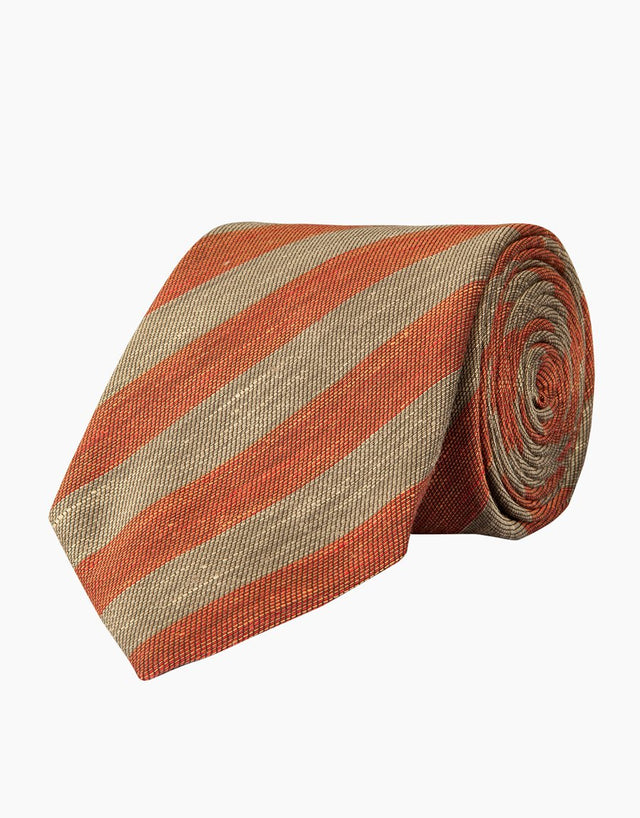 Brick & Grey Stripe Linen & Silk Tie