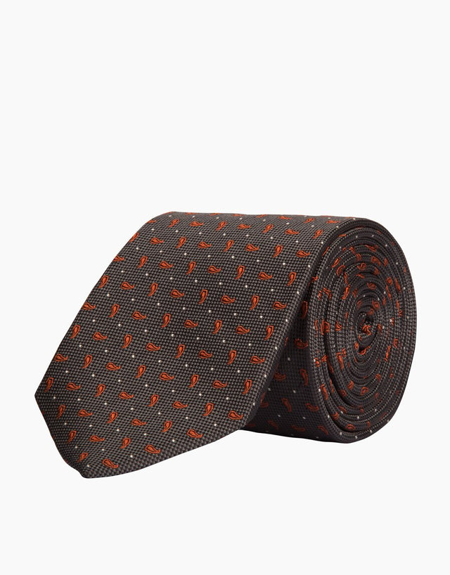 Charcoal Paisley Silk Tie