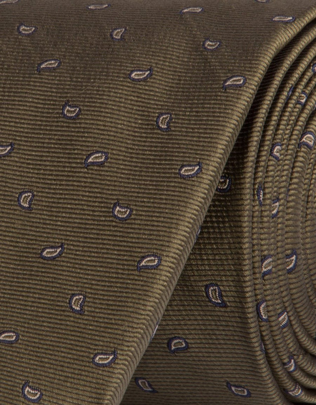 Olive MicroPaisley Silk Tie