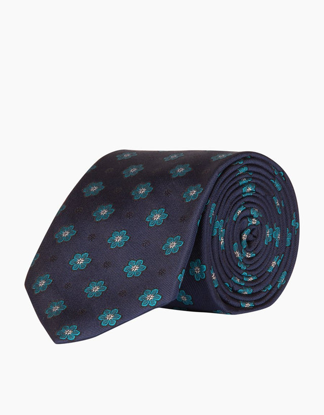 Navy Floral Dot Tie