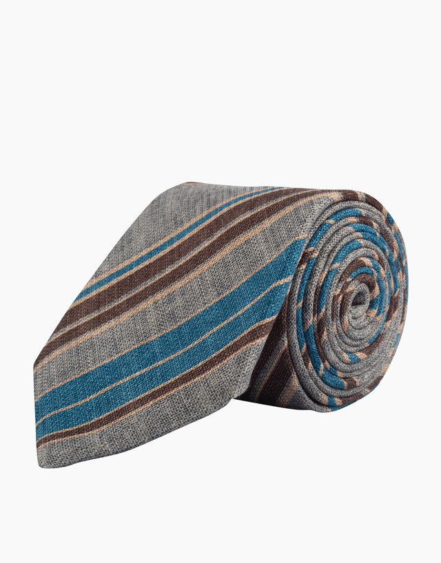 Grey striped silk tie
