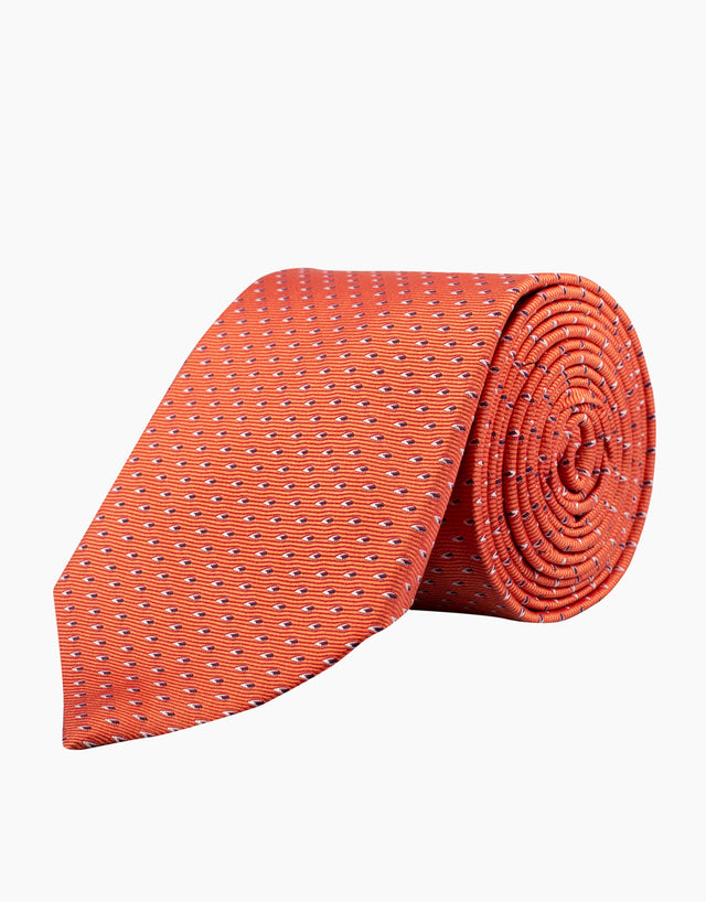 Orange geometric tie