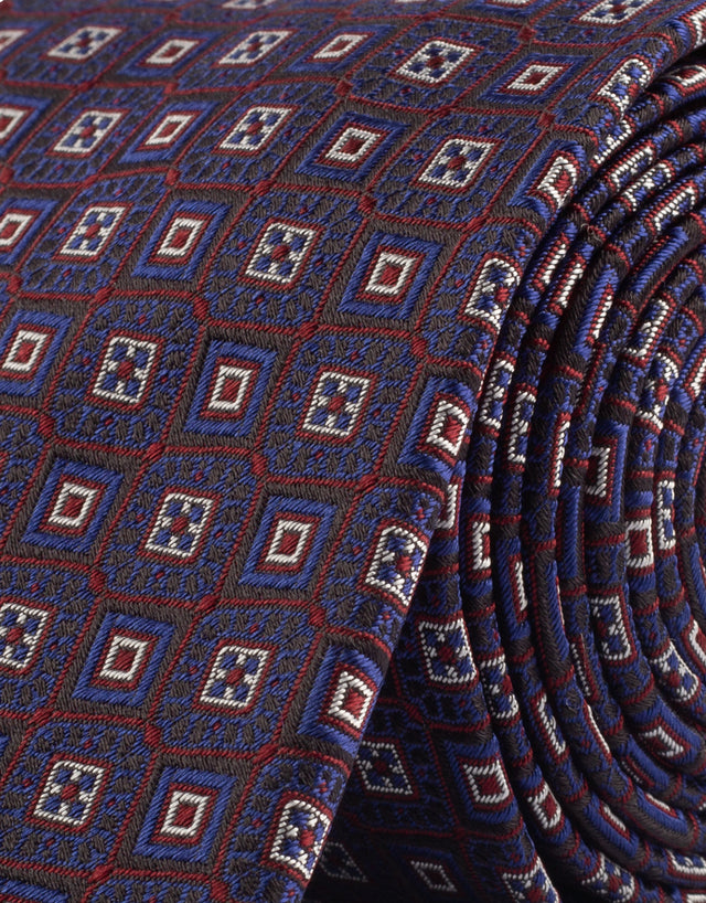 Navy & red geometric silk tie