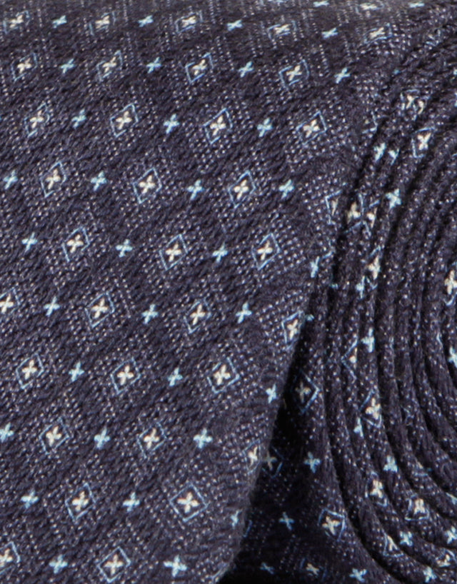 Navy & blue geometric silk tie