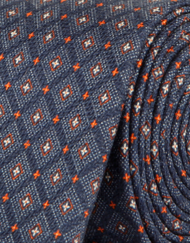 Navy & orange geometric tie