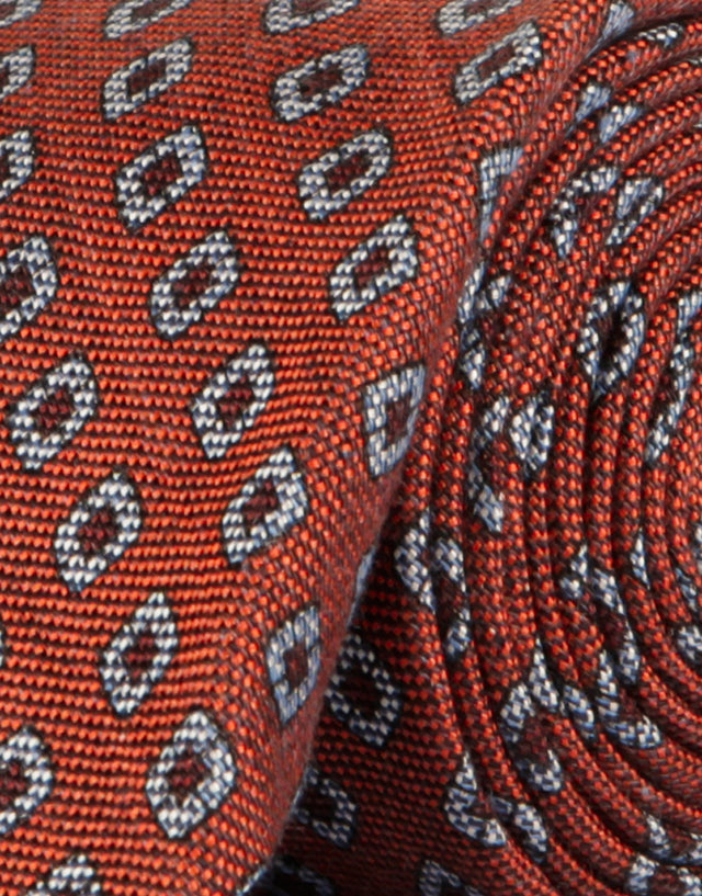 Orange geometric linen & cotton tie