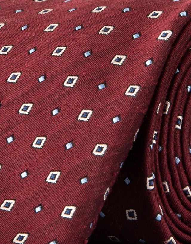Burgundy geometric silk tie