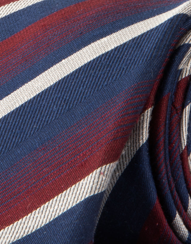 Navy & red stripe silk tie