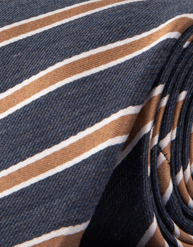Indigo & Beige Stripe Cotton & Silk Tie