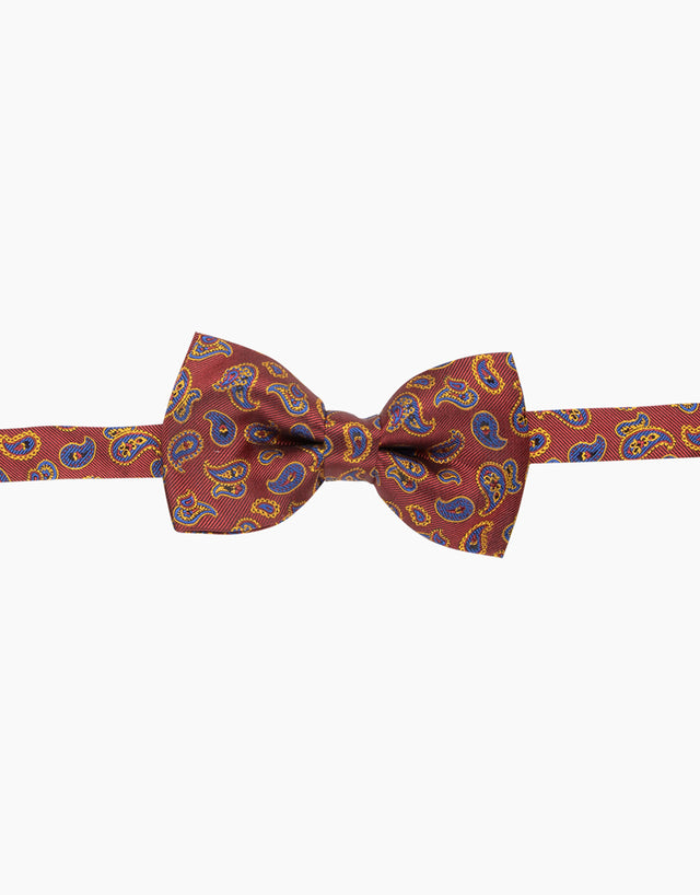 Orange Paisley Silk Bow Tie