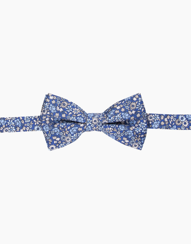 Blue Floral Silk Bow Tie