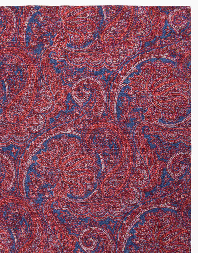 Red Paisley & Dot Reversible Pocket Square
