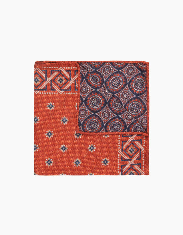 Red Geometric Reversible Pocket Square