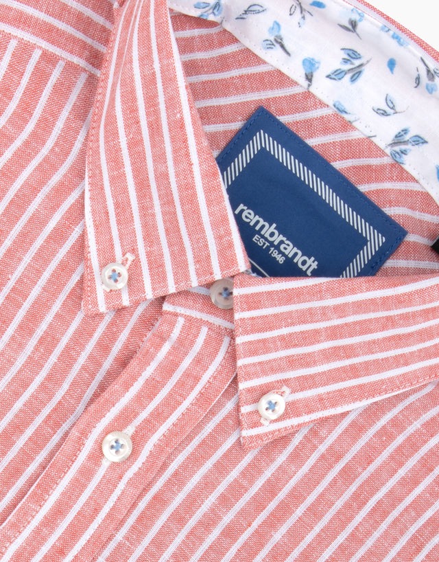 Awaroa Apricot Linen & Cotton Stripe Shirt