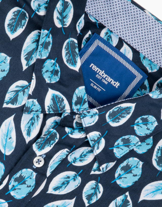 Waihi Navy Leaves Short Sleeve Shirt