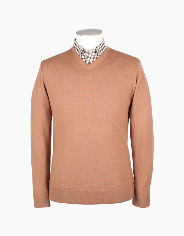 Fairlie Tan V-Neck Jersey