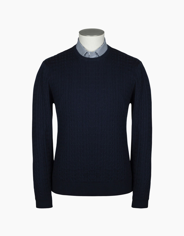 Cromwell Cable Crew Navy Jersey
