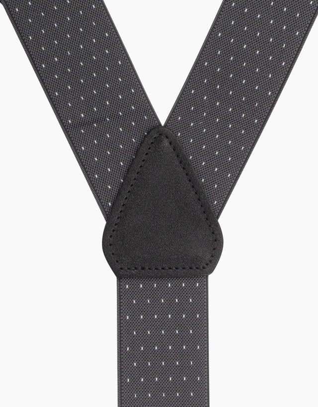 Grey & white pindot suspender braces clip end