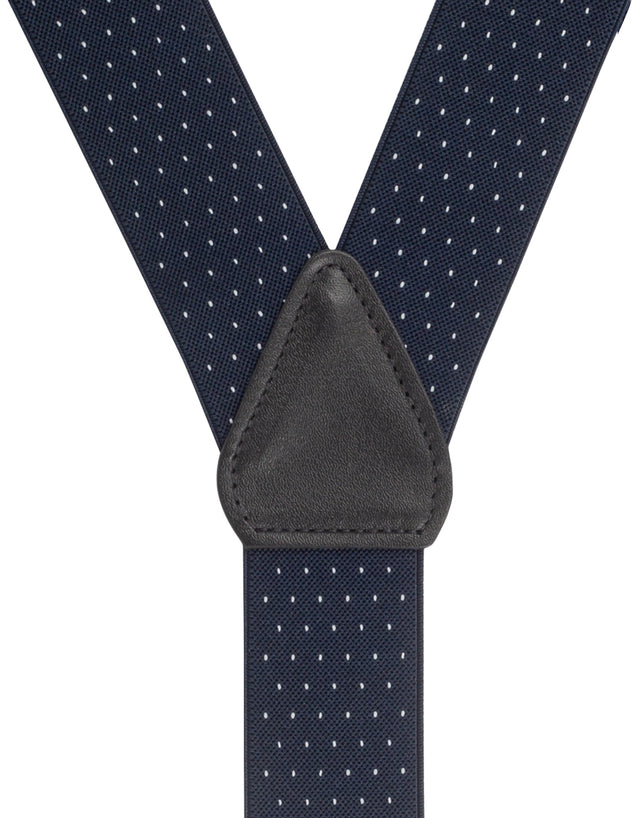 Navy & White Pindot Suspender Braces Clip End