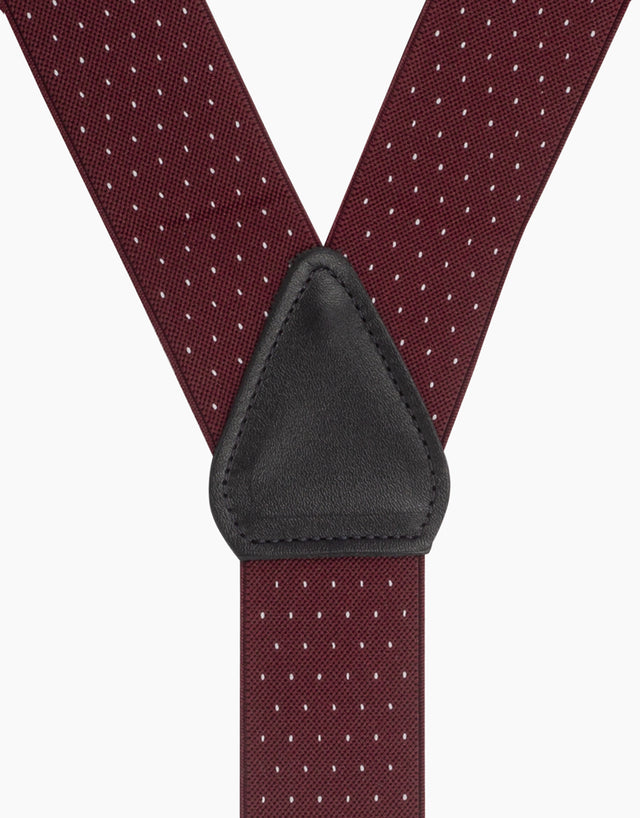 Wine & White Pindot Suspender Braces Clip End