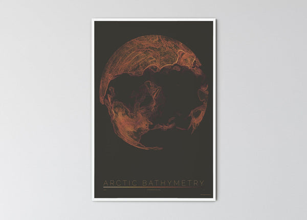 "THE WORLD AS BATHYMETRY Mapographics Print Material ARCTIV_BATHYMETRY_LARGE2 / Large title / 70x100 cm (27.56x39.37"")"