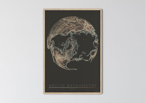 "THE WORLD AS BATHYMETRY Mapographics Print Material ARCTIV_BATHYMETRY_LARGE1 / Large title / 70x100 cm (27.56x39.37"")"