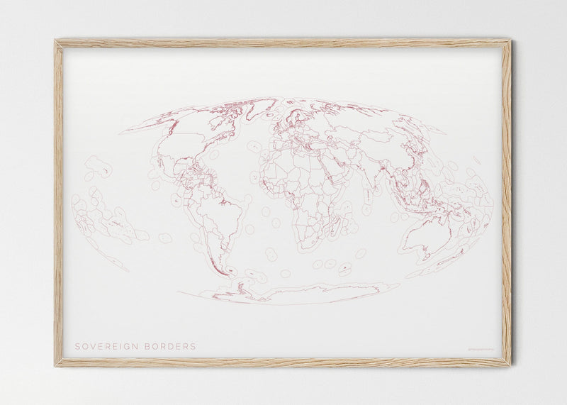 "THE WORLD AS SOVEREIGN BORDERS Mapographics Print Material Borders_LARGE2 / Small title / 100x70 cm (39.37x27.56"")"