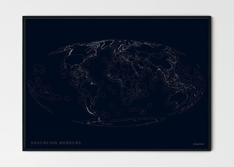 "THE WORLD AS SOVEREIGN BORDERS Mapographics Print Material Borders_LARGE3 / Small title / 100x70 cm (39.37x27.56"")"